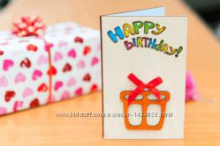 Открытка Happy Birthday - Подарок - белая