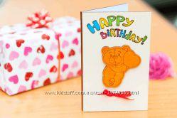 Открытка Happy Birthday - Мишка - белая