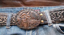 Кожаный ремень ручной работы Слава викингов