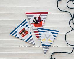 Гирлянда флажки растяжка с именем День рождения в пиратском стиле
