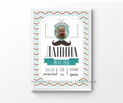Детская метрика зигзаги, плакат в детскую