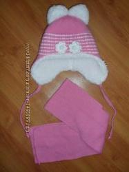Набір шапка і шарф на дівчинку 1-2 рочки