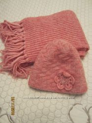 Шарф розовый очень теплый, зима