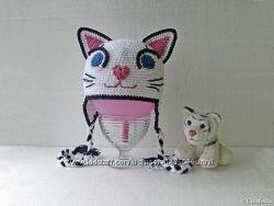 Детская кото-шапка снежный барс