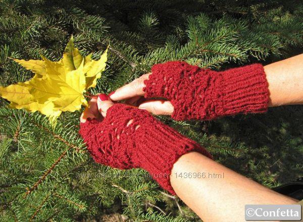 Ажурные бордовые женские митенки handmade
