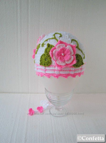 детская шапочка с цветами вязаная крючком