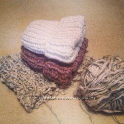 Теплая зимняя шапка с отворотом