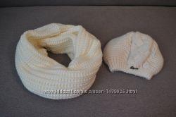 Женский вязаный комплект шапка-снуд