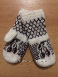 Дитячі в&180язані шерстяні рукавички-варіжки