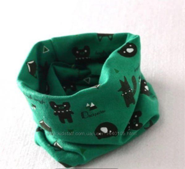 детский хомут шарф кольцо с принтом лисичек и медведей