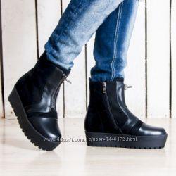 Женские зимние ботинки на платформе с мехом, со змейкой, 35-39р