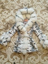 Шикарная шубанатуральный песец кролик, с капюшоном, черно-белаязебра