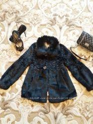 Шикарная шуба, натуральный мех песец кролик, разлетайка, черный цвет, 44М