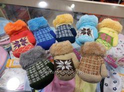 Теплые детские варежки рукавички
