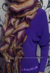 Фиолетовый теплый шарфик с подарком