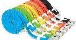 USB кабель microUSB, резина, плоский