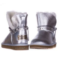 Женские угги Shoelace Leather Glamour Silver