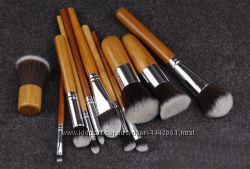 Кисти для макияжа косметические в мешке, 10 шт.  кабуки