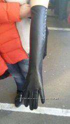 Удлиненные кожаные перчатки женские