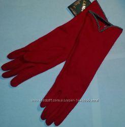 Перчатки кашемировые удлиненные красные