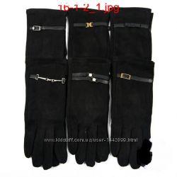 Женские велюровые перчатки с плюшевым утеплителем