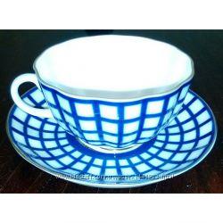 Чашка с блюдцем чайная Тюльпан Кобальтовая клетка