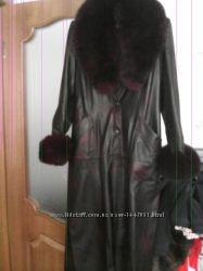 Пальто натуральная кожа с мехом песца