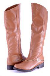 Кожаные женские сапоги цвет рыжий