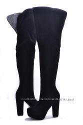 Кожаные женские сапоги цвет замш черный