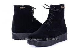 Внимание новинка кожаные женские ботинки цвет черный замш