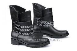 Внимание новинка кожаные женские ботинки цвет черный