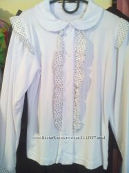 Блуза белая школьная на кнопках для девочкигорошек волан