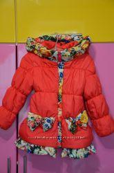 Теплая демисезонная курточка пальто для девочки на весну осень 104 110 116