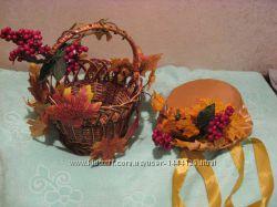 шляпка на 2-4года и корзинка на праздник осени