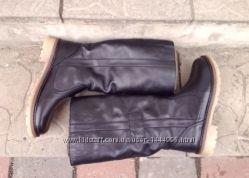 Сапоги женские зимние кожаные низкие на низком каблуке 37, 38, 39, 40
