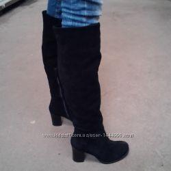 Сапоги женские зимние замшевые высокие на высоком каблуке с замком черные