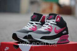 Кроссовки женские зимние nike air max разноцветные лого розовый