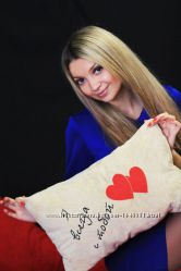 Сувенирная подушка с вышивкой Я всегда с тобой