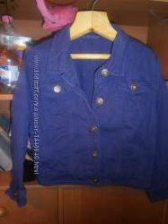 Пиджак джинсовий р. 14-15 років, 164-170 см, фиолетовый, стан нового