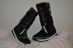 Женские зимние дутики сапоги на липучках черные отличного качества