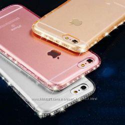 Силиконовый чехол с камнями Сваровски для Iphone5 5S 6 6S 6pl 7 7pl 8 8pl X