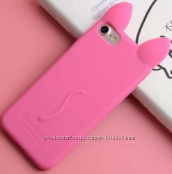 Розовый Чехол-кот с ушками и лапками для Iphone 4 4S 5 5S 5SE 6 6S