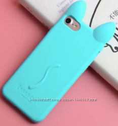 Ментоловый Чехол-кот с ушками и лапками для Iphone 6 6S