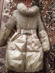 Красивый женский пуховик бежевый 44 размера на пуху
