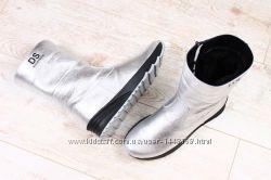 Зимние спортивные ботинки, на меху, кожаные, серебристые