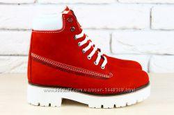 Ботинки красные Timberland зимние натуральный нубук на меху