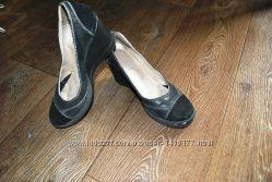 Туфли черные кожаные замшевые стильные модные качественные
