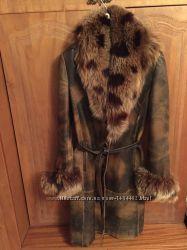 Кожаное пальто, мех  кролик, р 4446