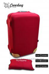 чехол на чемодан бордо