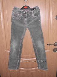 Вельветовые серые джинсы скинни б. у для девочки рост 122-128